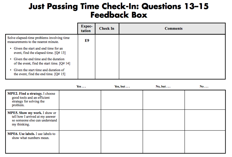 Sample Grade 3 Content and Math Practices Feedback Box