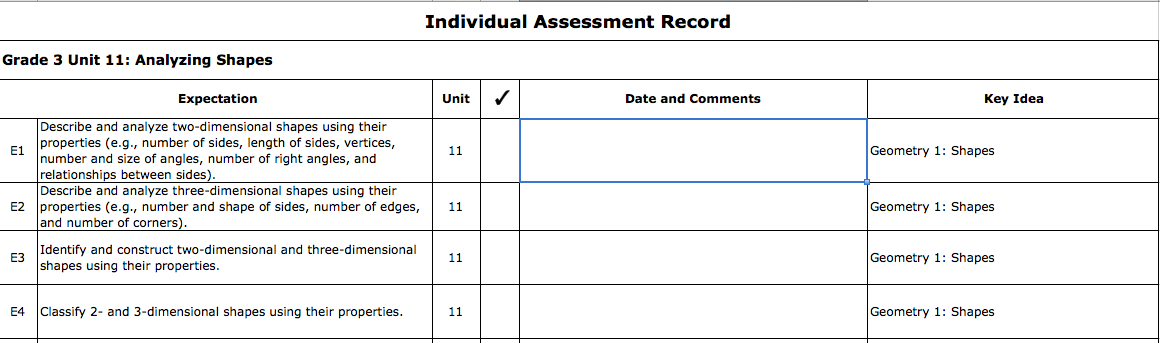 Figure 6 Individual Assessment Record for Grade 3 Unit 11