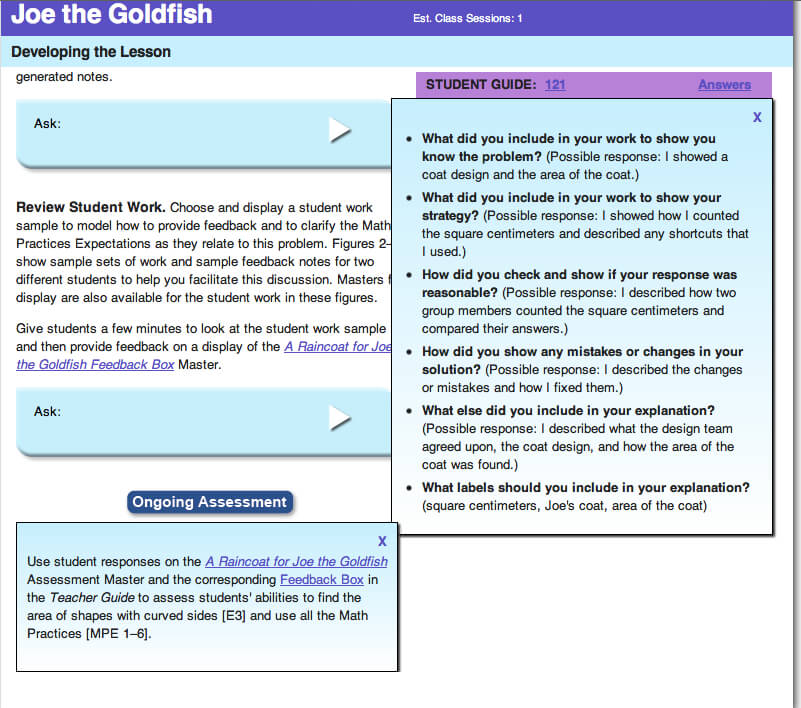 Sample Student Responses Focusing on Math Practices in Grade 3's Joe the Goldfish